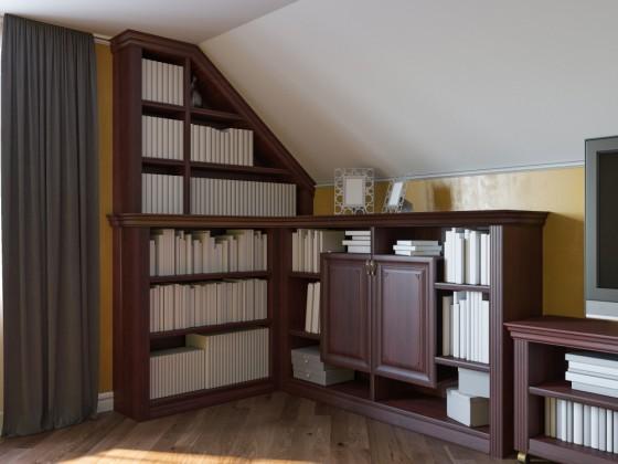 Mobile e libreria su misura per attico sottotetto