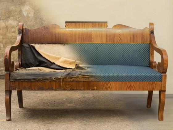 Recupero di antico sofà, prima e dopo il restauro completo